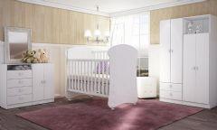 Quarto Infantil (Bebê) Completo Art In Móveis Meu Fofinho QI42 (Guarda Roupa+Berço+Cômoda)