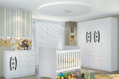 Quarto Infantil (Bebê) Completo Santos Andirá Doçura Sorriso QI18 (Guarda Roupa+Berço+Cômoda)