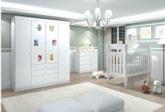 Quarto Infantil (Bebê) Completo Santos Andirá Doçura Baby QI19 (Guarda Roupa+Berço+Cômoda)