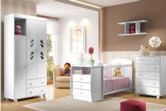 Quarto Infantil (Bebê) Completo Multimóveis Sorvete Seco Plus QI37 (Guarda Roupa+Berço+Cômoda+Prateleira)