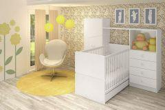 Quarto Infantil (Bebê) Completo Art In Móveis Meu Fofinho QI46 (Guarda Roupa/Cômoda+Berço)