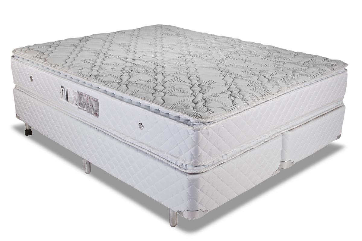 Conjunto Cama Box - Colchão Luckspuma de Molas Pocket Satisfaction Plus White + Cama Box Universal Couríno White