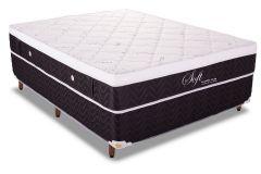 Conjunto Cama Box - Colchão Polar de Molas Pocket Soft Black + Cama Box Universal Courino Black