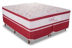 Conjunto Cama Box - Colchão Polar de Molas Pocket Soft Red + Cama Box Universal Couríno White