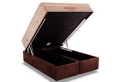 Conjunto Box Baú - Colchão Ortobom Apollo Viscomemory + Cama Box Baú Ortobom Nobuck Rosolare Café