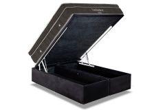 Conjunto Box Baú - Colchão Ortobom de Molas Nanolastic Exclusive + Cama Box Baú Ortobom Couríno Nero Black