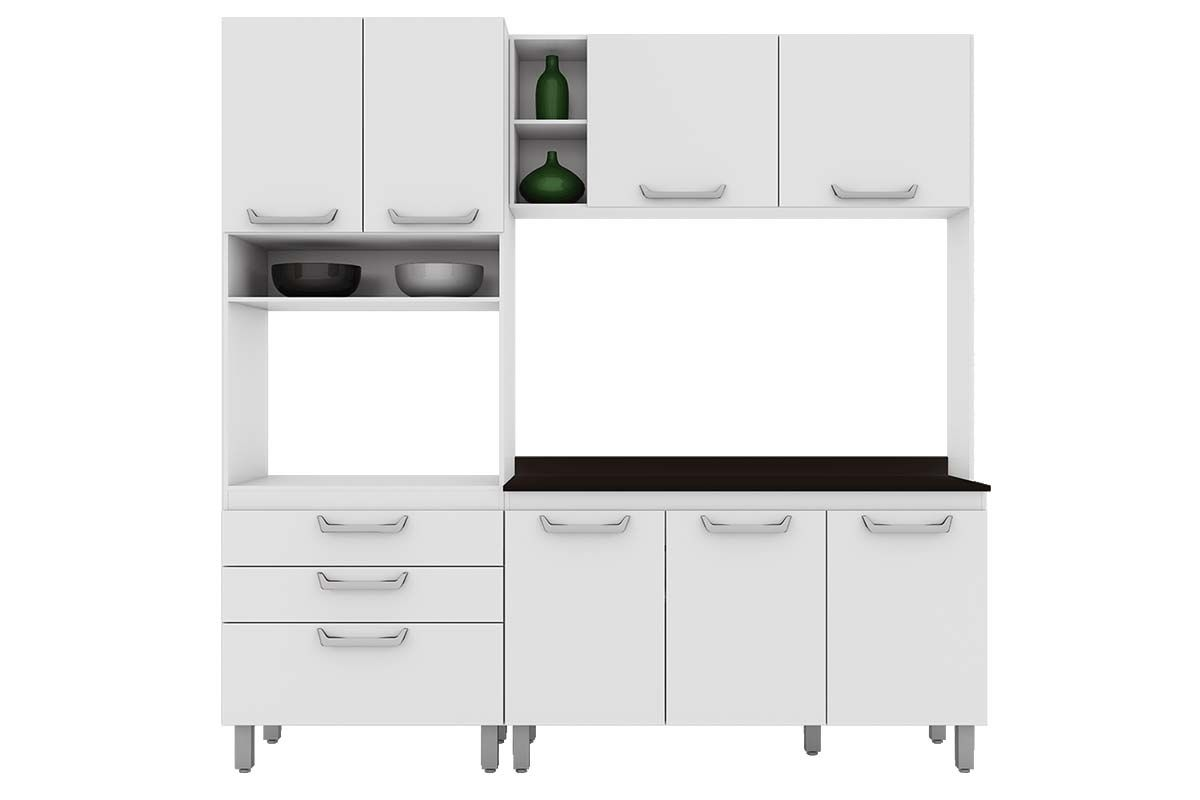 Cozinha Compacta Henn Adapt 9 (Paneleiro Armário Aéreo Aéreo  #415B38 1200 800
