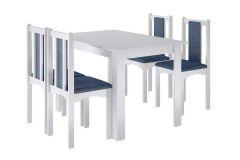 Conjunto Mesa de Jantar Art In Móveis CZ1200 - Mesa Veneza c/ Tampo Madeirado 81cm + 4 Cadeiras Veneza