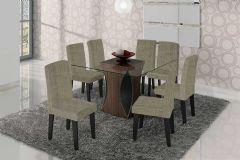 Conjunto Mesa de Jantar Cimol - Base Madeirado Andréia c/ Tampo de Vidro 135cm + 8 Cadeiras Milena