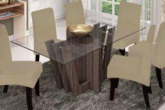 Conjunto Mesa de Jantar Cimol - Base Madeirado Lara c/ Tampo de Vidro 180cm + 6 Cadeiras Beatriz