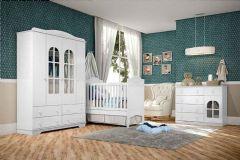 Quarto Infantil (Bebê) Completo Henn Provençal QI17 (Guarda Roupa+Berço+Cômoda)