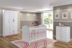 Quarto Infantil (Bebê) Completo Henn Açaí QI23 (Guarda Roupa+Berço+Cômoda)
