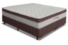 Conjunto Cama Box - Colchão Simbal de Molas Verticoil Sorrento Euro Pillow + Cama Box Universal Nobuck Rosolare Café
