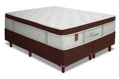 Conjunto Cama Box - Colchão Simbal de Molas Pocket Levitare Euro Pillow + Cama Box Universal Nobuck Rosolare Café