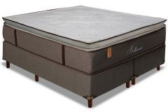 Conjunto Cama Box - Colchão Simbal de Molas Pocket Baltimore Pillow Top + Cama Box Universal Nobuck Rosolare Café