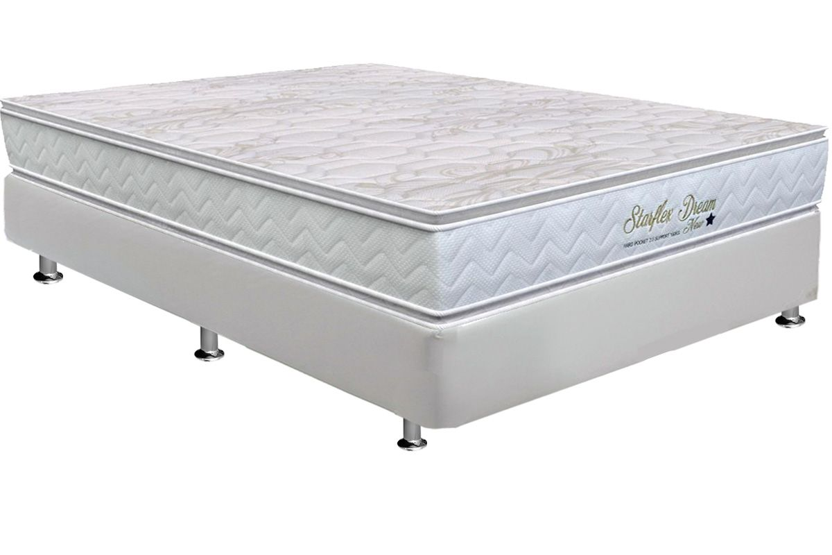 Conjunto Cama Box - Colchão Orthoflex de Molas Pocket Starflex Dream New + Cama Box Universal Courino Branco