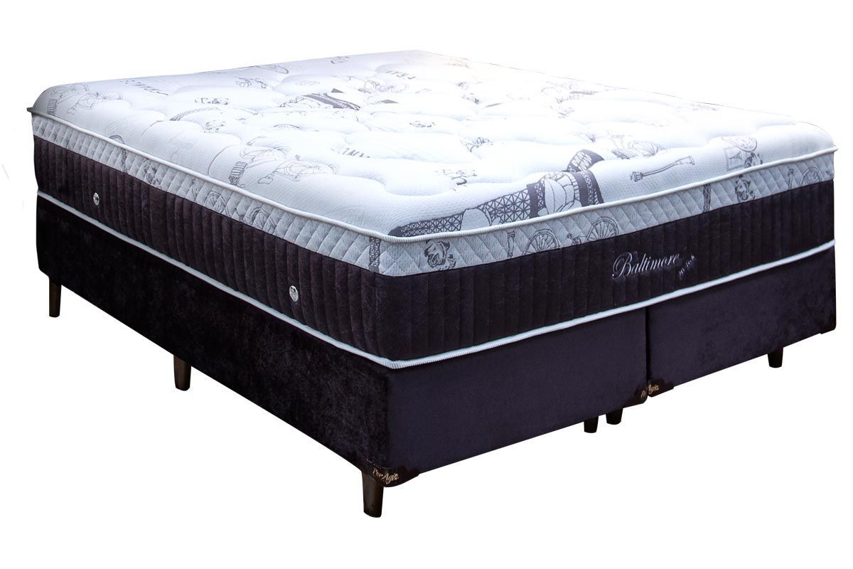 Conjuto Cama Box - Colchão Simbal de Molas Pocket Baltimore Hi-tech + Cama Box Universal Nobuck Black