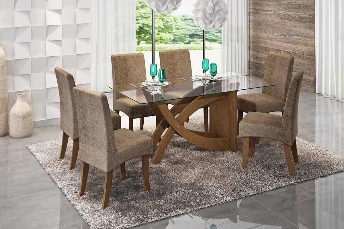 Conjunto mesa de jantar cimol base madeirado fl via c for Bases de mesas cromadas