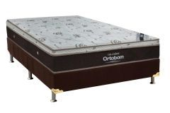 Conjunto Cama Box - Colchão Ortobom de Molas Pocket Sleep King Látex + Cama Box Universal Nobuck Rosolare Café