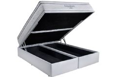 Conjunto Box Baú - Colchão Ortobom de Molas Pocket Freedom Viscoelástico + Cama Box Baú Courino Bianco