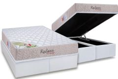Conjunto Cama Box - Colchão Orthocrin de Molas Pocket Radiance Square + Cama Box Baú Courino White