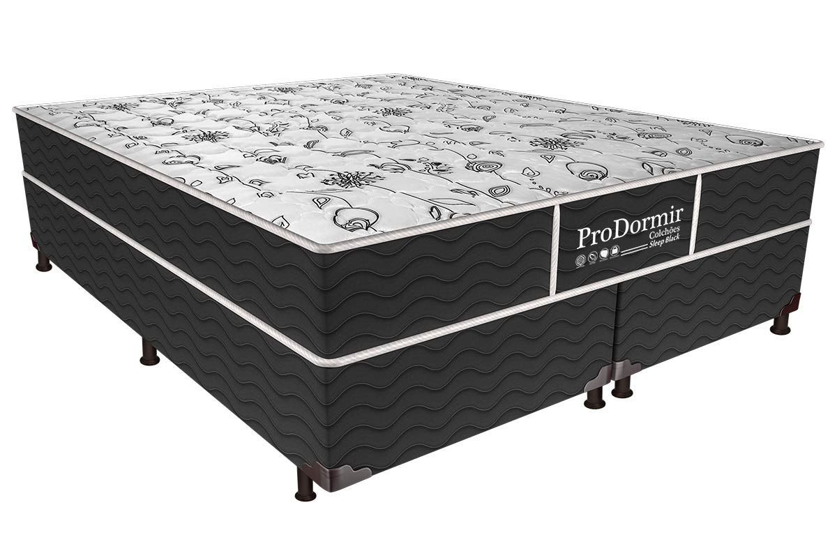 Conjunto Cama Box - Colchão Probel de Molas Bonnel ProDormir Sleep Black + Box Universal Nobuck Nero Black