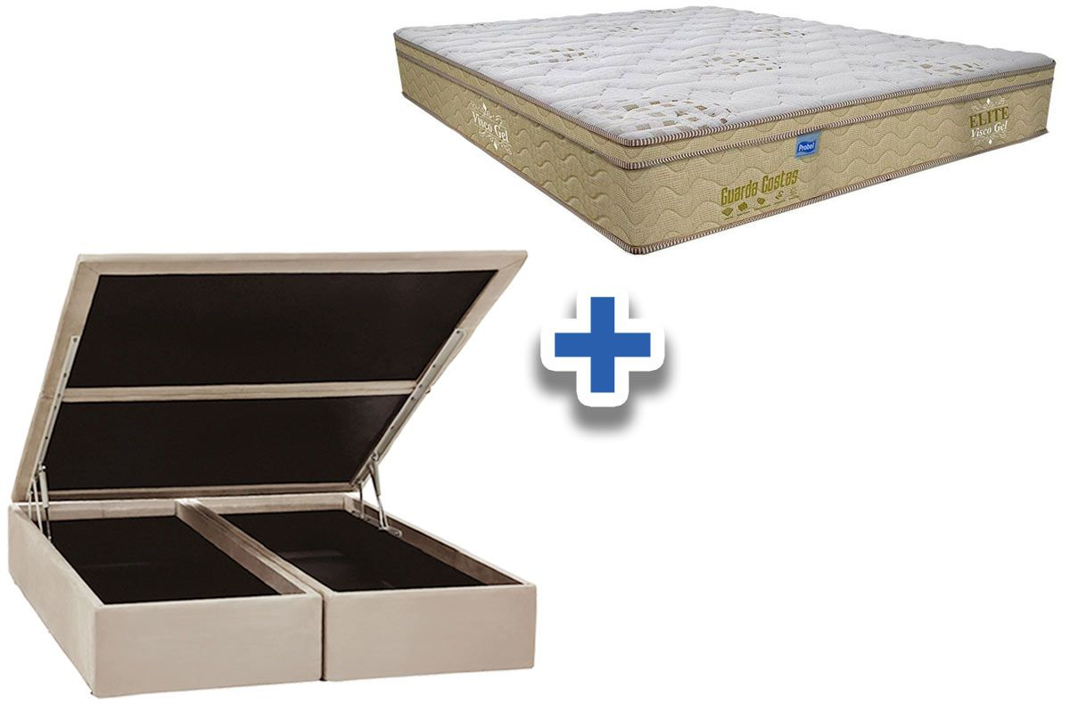 Conjunto Cama Box Baú - Colchão Probel de Mola Pocket Guarda Costa Elite Visco Gel Pillow Euro + Cama Box Baú Nobuck Bege