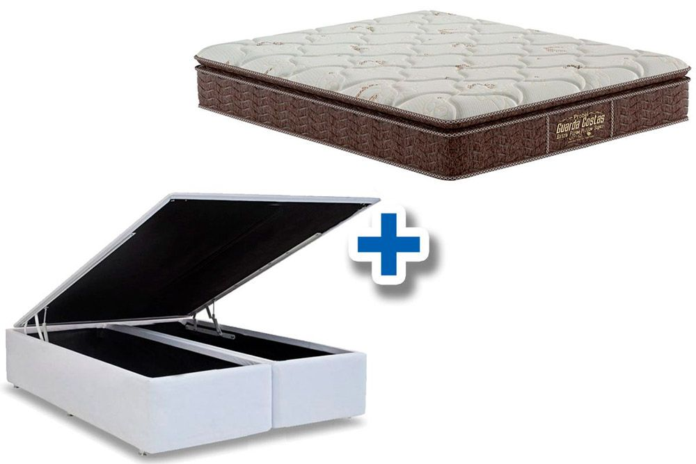Conjunto Cama Box Baú - Colchão Probel de Espuma Guarda Costas Extra Firme Pillow Top + Cama Box Baú Courino Bianco