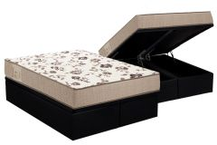Conjunto Baú Box - Colchão Ortobom Physical Mega Resistente  + Cama Box Baú Couríno Black