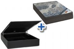 Conjunto Cama Box Baú - Colchão Ortobom Molas Pocket Fort Tech ISO Ortopilow 25cm + Cama Box Baú Courino Black