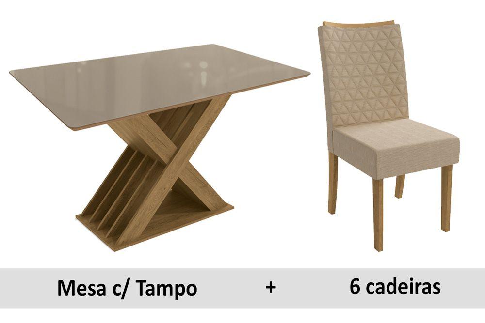 Sala De Jantar Kappesberg Mesa Graviola + 6 Cadeiras CAD129 Freijó/Vidro Bronze/Linho Bege A019