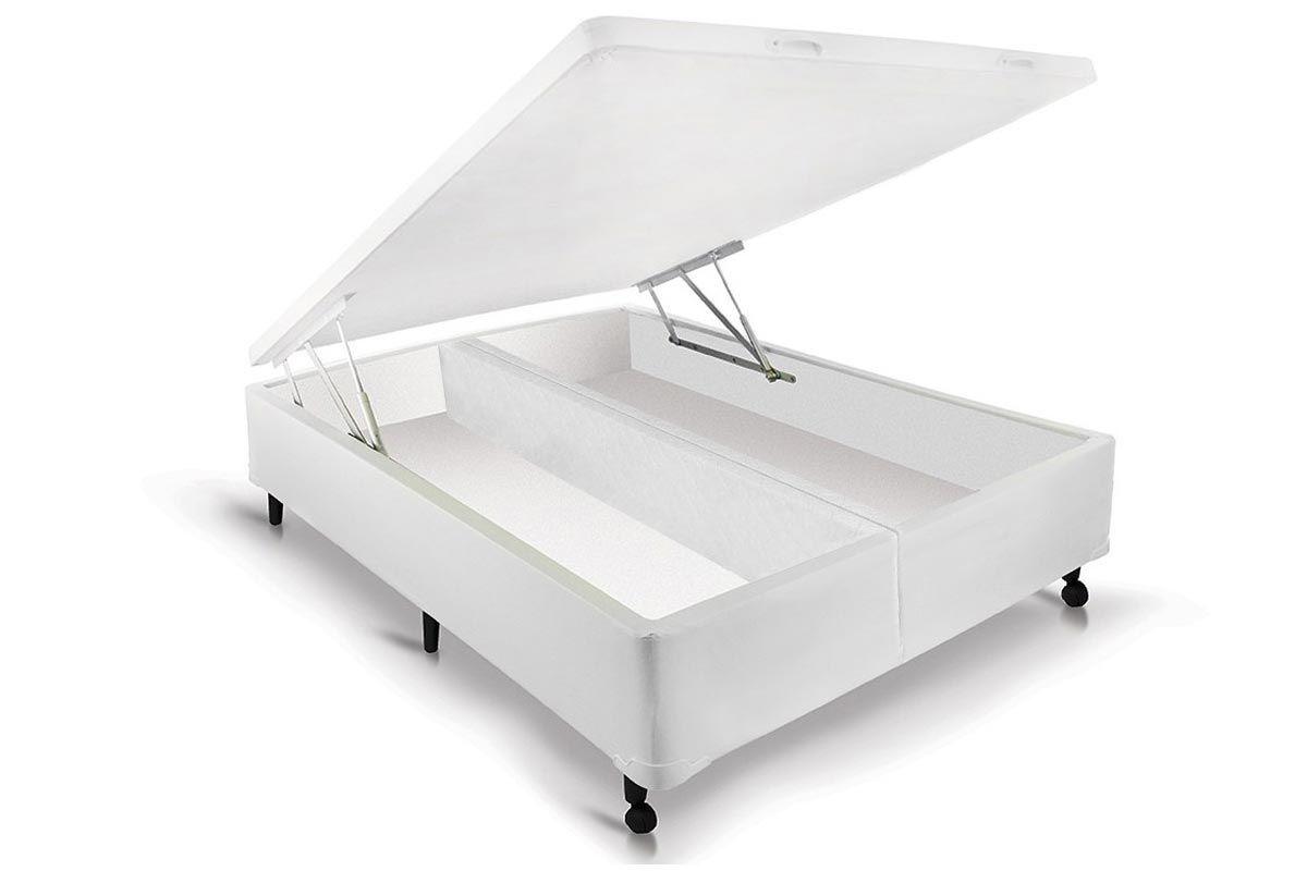 Cama Box Baú Castor Universal Branco Cama Box Solteiro - 0,78x1,88x0,35 - Sem Colchão